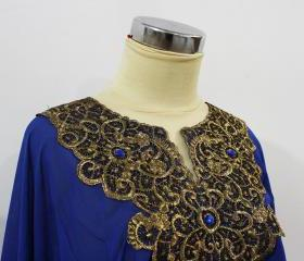 Blue Tunic Blouse Moroccan Style Indonesian Traditional Gold Embroidery Unique Kerancang Pattern For Women