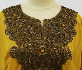 Yellow Tunic Blouse Moroccan Style Indonesian Traditional Gold Embroidery Unique Kerancang Pattern For Women