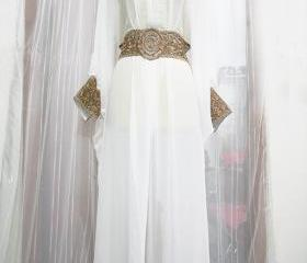 Bright White caftan Moroccan Style Sheer Chiffon cute Gold Embroidery Abaya clothing Dubai Maxi Dress Jalabiya for women