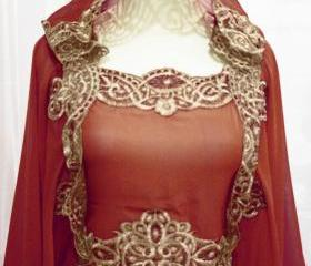 Maroon Moroccan Caftan Hoodie Sheer Chiffon Fancy FULL Gold Embroidery Abaya Dubai Maxi Dress farasha Hijab Style Jalabiya for women